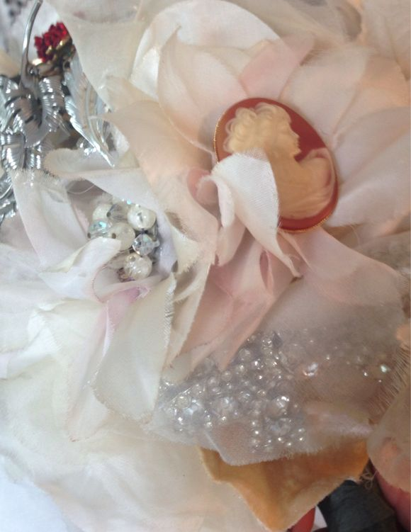 Vintage millinery and brooch bouquet